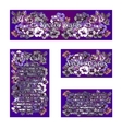 Set of four cards with the image of purple flowers vector image vector image