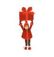 smiling teen girl holding huge christmas present vector image vector image