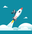 successful happy businessman flying on rocket to vector image vector image