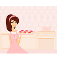 sweet Housewife cooking vector image vector image
