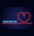 valentines day neon banner valentines heart neon vector image vector image