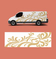 van wrap design template with wave shapes decal