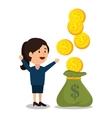 woman cartoon money earnings design isolated vector image