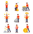 young man mining bitcoin digital money set vector image