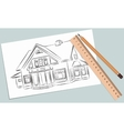 Sketch of house on a white piece vector image