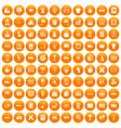 100 bus icons set orange vector image vector image