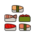 Asia food icon set with sushi rolls sashimi noodle vector image vector image