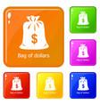bag dollar icons set color vector image