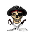 black and white pirate skull with cross swords vector image vector image