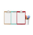 blank clipboards realistic clipboard stationery vector image