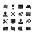 Blueprint Black White Flat Icons Set vector image