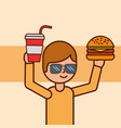boy cartoon holding hamburger soda vector image