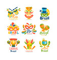 brazilian carnival logo design set bright fest vector image vector image