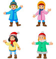 cartoon little girls wearing winter clothes vector image vector image