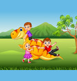 cartoon little kid playing with a dinosaur vector image vector image