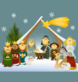 Cartoon nativity scene with holy family vector image