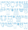 Children and baby clothes on clothesline vector image vector image