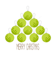 Christmas ball set Triangle fir tree shape Merry vector image vector image