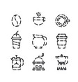coffee and drink icon set with white background vector image vector image
