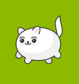 cute cartoon kawaii white cat on green background vector image