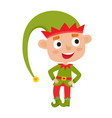 cute little christmas boy elf smiling vector image vector image