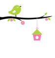 Cute spring Bird on tree branch vector image
