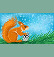 cute squirrel with a fir cone vector image