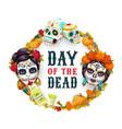 day dead mexican catrina calavera woman skull vector image
