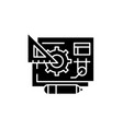 digital product management black icon sign vector image vector image