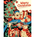 Doodle of Merry Christmas Holiday with Santa Claus vector image vector image