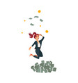 flat business woman dancing near money vector image vector image