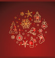 flat golden christmas icons on red background vector image vector image