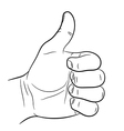 Hand raised Thumb up on white background vector image