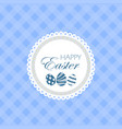 happy easter greeting card with textile background vector image vector image