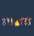 happy people group dancing at campfire music vector image vector image