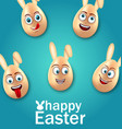 humor easter card with cheerful eggs with ears vector image vector image