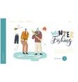 ice fishing wintertime activities landing page vector image