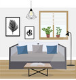 interior a living room studio with potted vector image