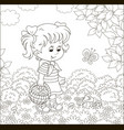 little girl mushroomer in a forest vector image