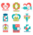 medical cross and heart icons for first aid vector image