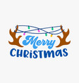 merry christmas greeting card with deer horns vector image