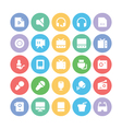 Multimedia Colored Icons 10 vector image vector image
