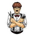 mustached barber in irish cap and glasses vector image vector image