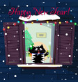 new year greeting card of funny cartoon cat vector image