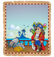 parchment with pirate ship deck 2 vector image vector image