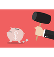 Piggy bank running from the hammer vector image