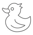 rubber duck thin line icon toy and bath vector image vector image