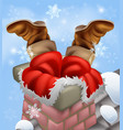 santa stuck in a chimney vector image