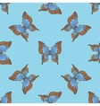 Seamless pattern with blue butterflies vector image vector image
