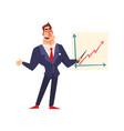 self confident businessman pointing at a vector image